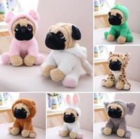 Wholesale stuffed animals dogs online - dog doll plush toy hat dog simulation Stuffed animals Toys For Children gift Sharpei Pug Plush Animal Toys CM KKA6072