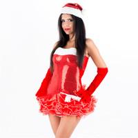 kabarcık çıkarmak toptan satış-Sıcak Kırmızı Off-omuz Şifon Noel Tutu Etek Kolsuz Seksi Pullu Kabarcık Santa Rara Fantezi Elbise Kadınlar Noel Puf Etekler Kostüm
