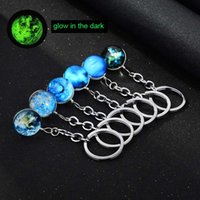 Wholesale wholesale moon star rings - 2018 Luminous Glow in the Dark Keychain Earth Moon Star Galaxy Universe Glass Cabochon Keychain Rings Fashion Gift DROP SHIP 340037