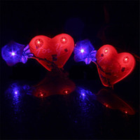 Wholesale red rose led lights resale online - Luminous Flash Red Rose Heart Cartoon LED Light Brooch Light Up Toys Party Holiday Decorations Supplies H265