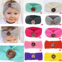 Wholesale hat baby sport resale online - Kids Buckle Knitted Headband Baby Winter Crochet Sports Button Headwrap Hairband Turban Head Band Ear Warmer Beanie Hat AAA961