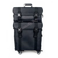 Wholesale rolling drawer - 2in1 Nylon makeup trolley case with 4pcs rolling wheels, cosmetic train case with drawers and shoulder tape.