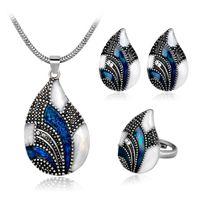 перо серьги бесплатная доставка оптовых-Free shipping! Wholesale vintage blue white crystal feather necklace  peacock earring women anniversary ear jewelry set