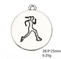 Wholesale tibetan coins charms pendant resale online - Tibetan Running Girl Figure Engraved Run Like A Girl Floating Sports Charms Pendants