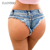 жакет-шорты для женщин оптовых-Summer Shorts Women High Cut Bikini Short Jeans Sexy Low Rise Waist Denim Mini Hot Shorts Club Wear 2017