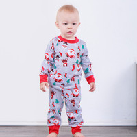 Wholesale boys designer clothes online - Baby Christmas Outfits Santa Claus Snowman Elk Socks Snowflake Tree Newborns Girl Boy Designer Clothes Long Sleeves Clothing Sets Pajama