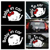 ingrosso parabrezza in plastica-White Cartoon Cute Lovely Adesivi per auto Vinile Styling Baby In Car Warming Decal Baby on Board sul parabrezza posteriore