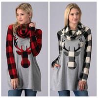 yılbaşı ağacı toptan satış-Kadın Kızlar Noel ekose Hoodie Elk Deer Baskı Uzun Kollu atkısı Patchwork Tişörtü ızgara gömlek Kazak Ceket noel hediyeler AAA1385