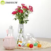 Wholesale plant s light - Clear Light Bulb Shape Stand Plant Flower Vase Hydroponic Container Bottle terrarium teraryum vasos decorativos para sala vases