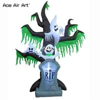 cadılar bayram dekorasyonları açık havada toptan satış-Ürkütücü şişme ağaç, mezar, kabak, Cadılar Bayramı açık dekorasyon için ışıkları ile hayaletler modeli