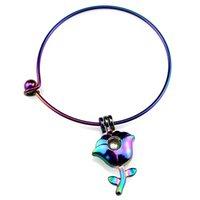 девушки выросли цветочные браслеты оптовых-B-C847 Rainbow Rose Flower  Cage Locket Wrist Cuff Bangle Girl Women Expandable Wire Steel Bracelet Bangle