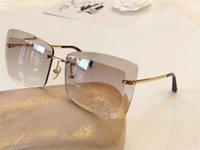 bayan güneş gözlüğü altın toptan satış-Çerçevesiz Bayanlar Güneş Gözlüğü altın / gri Sonnenbrille Designer SunGlasses Gözlük Kutusu ile Yeni