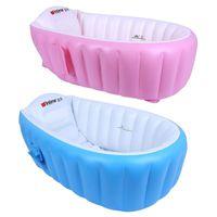 Wholesale tub baby online - 2 Colors Newborn Baby Bathtub Inflatable Thickening Bathroom Kids Shower Basin Children Tub Cushion Infant Baby Swimming Pool