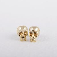 Wholesale skull studs for sale - Group buy Fashion gold stud earrings SKULL romantic stud earrings zinc alloy Gold color stud earrings for women