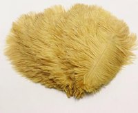 Wholesale 12 inch ostrich feathers - 50pcs  Lot Gold Ostrich Feather 25 -30 Cm  10 -12 Inches Plumages Splendid Ostrich Feather For Wedding Decorations Plume