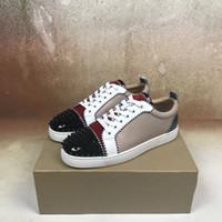 ups parties achat en gros de-2018 Nouveaux crampons bas Sneaker Red Bottom Chaussures Femmes, formateurs pour hommes Cuir véritable Junior Spike à lacets Semelle Rouge Partie de luxe