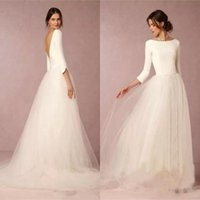 Wholesale top modest wedding dress - Cheap Modest Simple Wedding Dresses A Line Satin Top Backless 2018 Bridal Gowns Soft Tulle Skirt Sweep Train Bridal Gowns BA