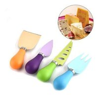 Wholesale board cutter - 4pcs set Colorful Cheese Knife Colour PP Handle With Stainless Steel Cheese Pizza Cutter Kitchen Bakeware Sets CCA8797 50set