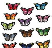ingrosso farfalla patch ricamata in ferro-Set di 50 pezzi di ferro su patch applique farfalla, cucire su patch di farfalle - applicazioni ricamate, riparare e decorare abbigliamento, borse