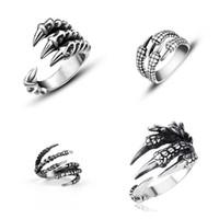 ingrosso gioielli roccia cool-Raffreddare Punk Rock acciaio inossidabile 316L Uomo Biker Anelli Gioielli gotici d'epoca Argento Colore Dragon Claw Ring Men Finger Ring Regali