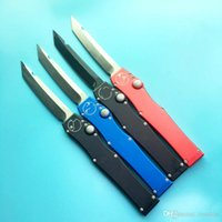 Wholesale Blue Knifes - halo V all black green single action red blue handle Hunting Pocket Knife Survival Knife Xmas gift for men 1pcs