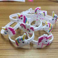 Wholesale material wristbands - Cartoon Wristband Pvc Material Soft Silicone Bracelet Unicorn White Children Simple Fashion Novelty Items Factory Direct 0 5ks V