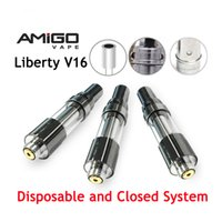 Wholesale liberty glasses for sale - Group buy Original Amigo Liberty V16 Disposable Vape Cartridges Ceramic Coil ml Glass Tank Closed System Thick Oil Cartridge for Thread Battery