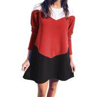 Wholesale kawaii chiffon dress online - Kawaii Patchwork A Line Autumn Women Mini Dress Sweet Girls Winter Loose Dress Plus Size Fashion Long Sleeve Party Robe M0203