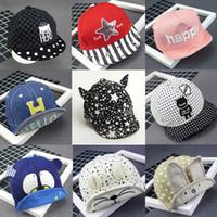 Wholesale Toddler Girls Baseball Caps - Baby Beanie Hats Newborn Peaked Cap Toddler Infant Skull Hat For Kids Boys Girls Spring Travel Cotton Baseball Caps Free DHL 399
