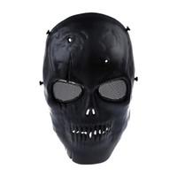 schädelmasken militär groihandel-Airsoft Maske Totenkopf Vollschutzmaske Militär - Schwarz