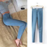 moda jeans mujeres pintan al por mayor-Jeans de moda mediana para mujer Nuevos estampados de primavera y otoño Pantalones vaqueros lavados rasgados Pantalones de mezclilla pintados elásticos vintage Pantalones