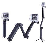 gopro heróis venda por atacado-GoPro Monopé Collapsible 3 Way Monopé Montagem Camera Grip Braço de Extensão Tripé Suporte para Gopro Hero 6 5 4 3 3 + 2 SJ4000
