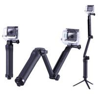 monopod uzantıları toptan satış-GoPro Monopod Katlanabilir 3 Yollu Monopod Dağı Kamera Kavrama Uzatma Gopro Hero 6 için Kol Tripod Standı 5 4 3 3 + 2 SJ4000