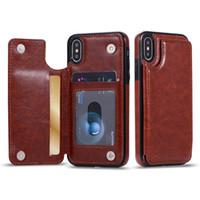 étuis à cartes de crédit en cuir achat en gros de-Pour iPhone Xs Max Xr S10 Lite 9 8 Plus portefeuille Etui De Luxe En Cuir PU Téléphone Portable Retour Couverture De La Carte avec des fentes pour carte de crédit