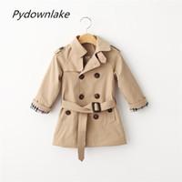 ingrosso cappotto di trincea dei capretti-Pydownlake Kids Coat Jacket Giacca a vento per bambini Autunno Moda manica lunga doppio petto Vita regolabile Capispalla Ragazzi