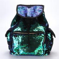 backpack notebooks Canada - New Arrival Double Color Sequins Girls School Bag Notebooks Soft Backpacks Fashion Bag women backpack Bolsa feminina