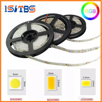 Wholesale Wire Ribbon Led Lights - LED Strip Light 12V SMD3528 5050 5630 300led Strip Non-waterproof Ribbon For Flexible strip Home Bar Decor Lampada Led 5M roll RGB