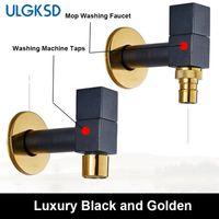 Wholesale golden bathroom accessories - ULGKSD Bathroom accessories Black and Golden Mop Tap Solid Brass Bathroom Sink Faucet Washing machine tap
