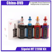 Wholesale light mod kit - Original Sigelei MT 220W Kit 220w TC MT Mod with Revolvr Tank Dual 18650 Adjustable LED Lights Sigelei Vape Mod Kit