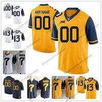 cf1f9b7df Custom West Virginia Mountaineers College Football Limited White navy blue  yellow Any Name Number 12 Gary Jennings 2 Kenny Robinson Jerseys