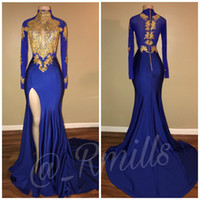 Wholesale Thigh High Models - 2018 Arabic Royal Blue Gold Appliques High Collar Prom Dresses Long Sleeves Sexy Thigh High Split Black Girls Evening Gowns BA7711
