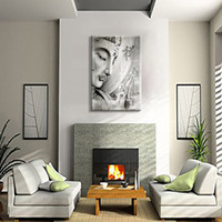 Wholesale large canvas wall art wholesale - Grey Buddha Large HD Wall Art Printed Abstract Canvas Painting Art Home Decor for Living Room Framed Ready to Hang