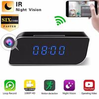 relojes de detección de movimiento al por mayor-WIFI Mini cámara Alarma Reloj Seguridad Detección de movimiento Niñera Reloj de mesa IR EE. UU. Enchufe HD 1080P