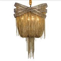 Wholesale italian modern lighting - Bronze Aluminum Chandelier Light Italian Tassel Design Chain Lustres Lamp Hanging Lighting for Living room Foyer MYY