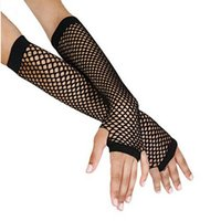 Wholesale gothic dance costumes - Stylish Long Black Fishnet Gloves Womens Fingerless Gloves Girls Dance Gothic Punk Rock Costume Fancy AQ859444