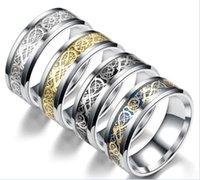 ring lovers man venda por atacado-Aço inoxidável prata dragão de ouro projeto anel de dedo anel de dragão chinês para as mulheres homens amantes anel de casamento r204