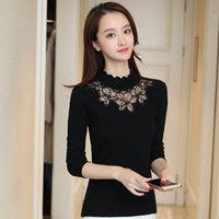 b6aa99ad23ec Sexy Lace Knitted Sweater Women Fashion Elegant Pullovers Casual Turtleneck  Slim Elastic Sweater Tops 2018 Spring