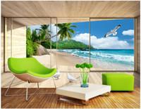 Wholesale villa wedding - 3d room wallpaper custom photo Villa seascape 3D landscape background wall living room painting 3d wall murals wall paper for walls 3 d