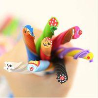 Wholesale lipstick erasers online - 4PCS Cute Long Color Fruit Rubber Kawaii Pencil Eraser Cartoon Borracha Cut into Pieces Correction School Supplies Stationery