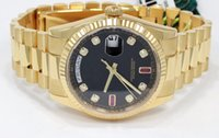 Wholesale Rubies Watch - Free shipping AAA Brand Day-Date President 118238 Automatic Movement Mens Watch 18K Y Gold Fact Ruby Baguettes Dial Men's Wrist Watches